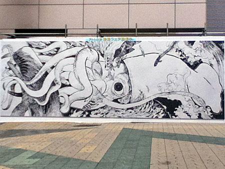 上野駅の寺田克也さんのダイオウイカ壁画